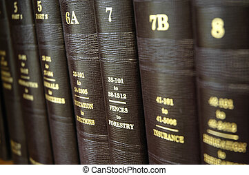 Law Books - Close up of several volumes of law books of...