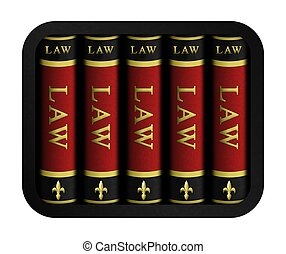 Illustration of a set of black, red and gold leather law books.