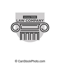 Law company since 1996 logotype with ancient pillar