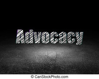 Law concept: Advocacy in grunge dark room
