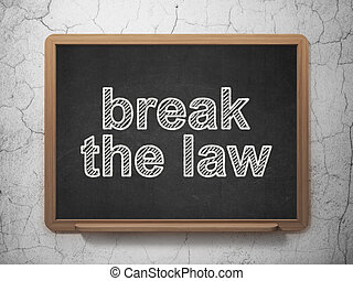 Law concept: Break The Law on chalkboard background