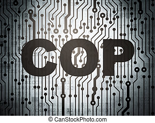 Law concept: circuit board with Cop