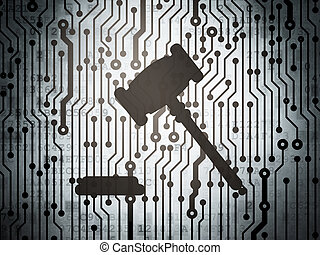 Law concept: circuit board with Gavel