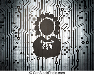Law concept: circuit board with Judge