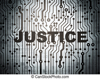 Law concept: circuit board with Justice