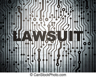 Law concept: circuit board with Lawsuit