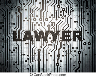 Law concept: circuit board with Lawyer
