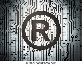 Law concept: circuit board with Registered