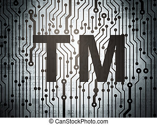 Law concept: circuit board with Trademark
