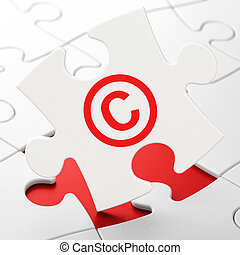 Law concept: Copyright on puzzle background