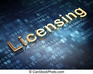 Law concept: Golden Licensing on digital background, 3d...
