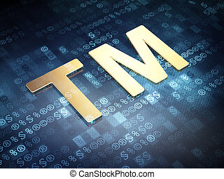 Law concept: Golden Trademark on digital background, 3d...
