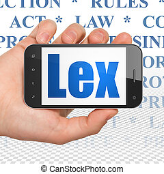 Law concept: Hand Holding Smartphone with Lex on display -...