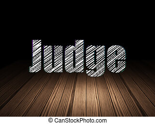 Law concept: Judge in grunge dark room