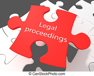 Law concept: Legal Proceedings on White puzzle pieces background, 3D rendering