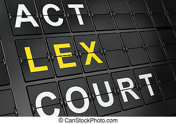 Law concept: Lex on airport board background, 3d render