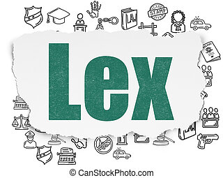 Law concept: Lex on Torn Paper background - Law concept:...