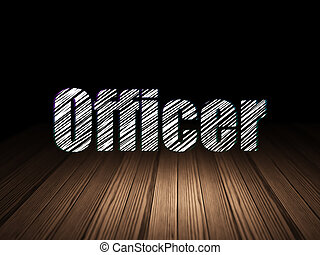 Law concept: Officer in grunge dark room