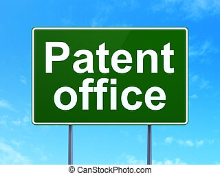 Law concept: Patent Office on road sign background - Law...