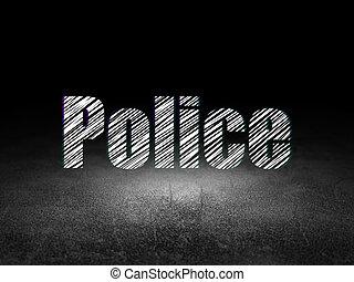 Law concept: Police in grunge dark room