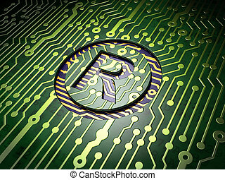 Law concept: Registered on circuit board background