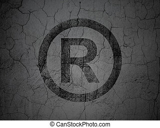 Law concept: Black Registered on grunge textured concrete wall background, 3d render