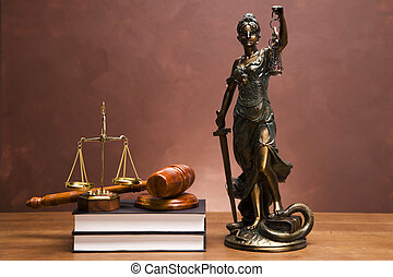 Law Concept - Scales of justice and gavel on desk with dark ...