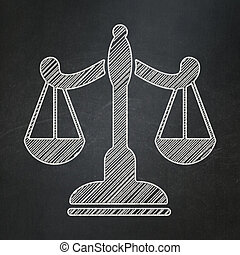 Law concept: Scales on chalkboard background
