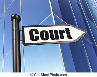 Law concept: sign Court on Building background