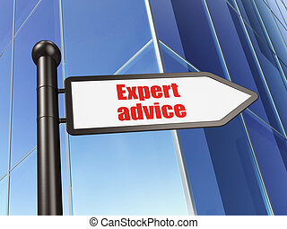 Law concept: sign Expert Advice on Building background