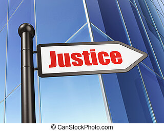 Law concept: sign Justice on Building background