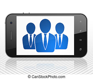 Law concept: Smartphone with Business People on display
