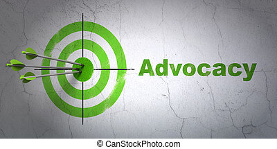 Law concept: target and Advocacy on wall background -...