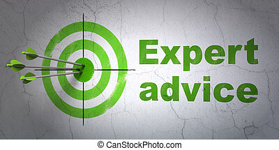 Law concept: target and Expert Advice on wall background