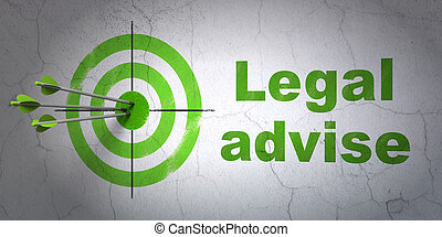 Law concept: target and Legal Advise on wall background