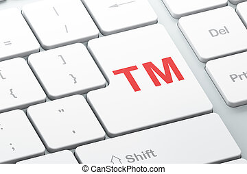 Law concept: Trademark on computer keyboard background