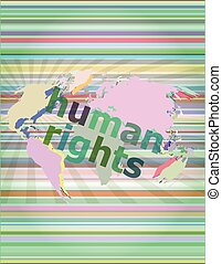 Law concept: words human rights on business digital background vector illustration