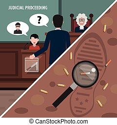 Law Corners Set - Judgment services and law proceedings...