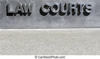 Law Courts sign in stainless steel