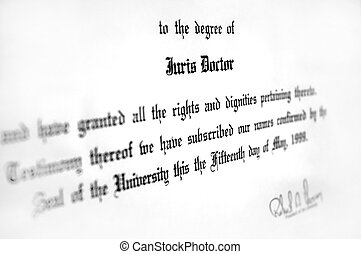 Law Degree - Close up of Juris Doctorate law degree...