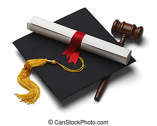 Law Degree - Black Graduation Hat with Degree and Gavel...