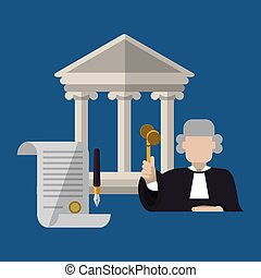 Law design. Justice icon. Flat illustration, vector graphic...