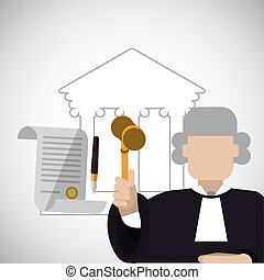 Law design. Justice icon. Flat illustration, vector graphic...