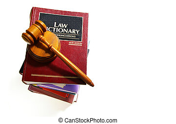 law dictionary stack and legal gavel
