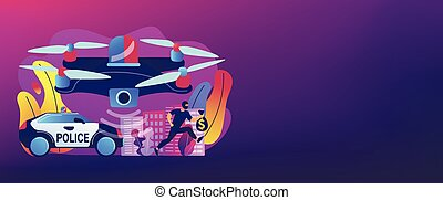 Law enforcement drones concept banner header. - Police car...