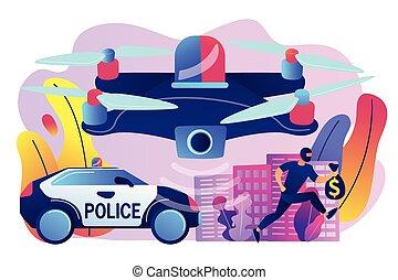 Law enforcement drones concept vector illustration. - Police...