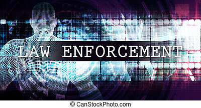 Law enforcement Industry with Futuristic Business Tech...