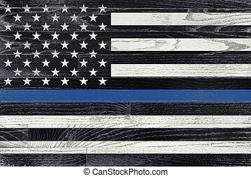 A law enforcement police support flag painted on white washed wood grained boards.