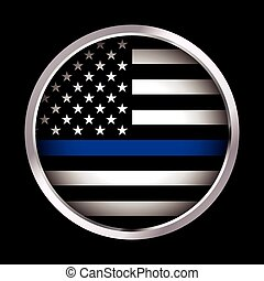 Law Enforcement Support Flag Icon Illustration - An American...
