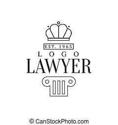 Law Firm And Lawyer Office Black And White Logo Template With Crown And Pillar Justice Symbols Silhouette
